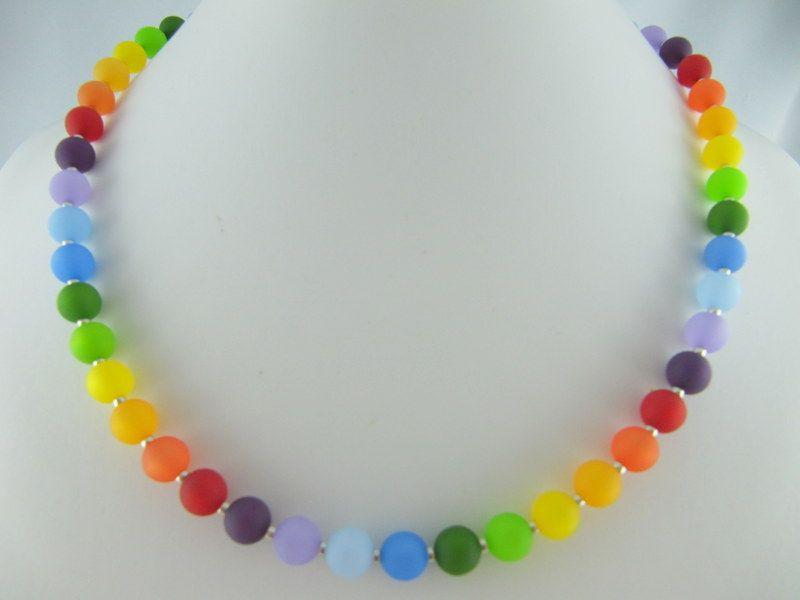 Kleinesbild - Kette Regenbogen Bunt Polaris Perlen Polariskette Regenbogenkette (510)
