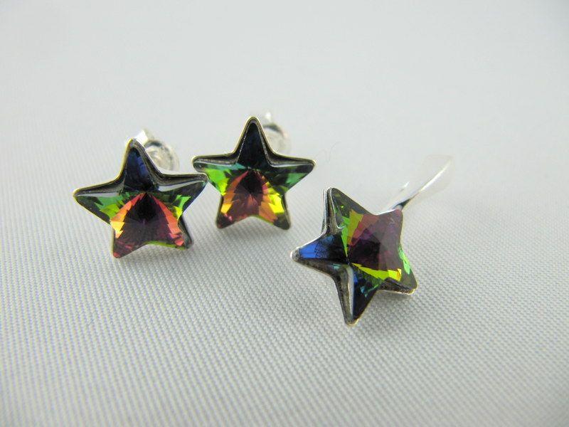 - Set Ohrstecker und Anhänger Sterne Crystal Vitrail Medium (652)  - Set Ohrstecker und Anhänger Sterne Crystal Vitrail Medium (652)