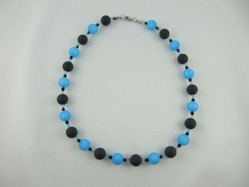 Kleinesbild - Kette große Perlen Polaris Schwarz Blau Polariskette (648)