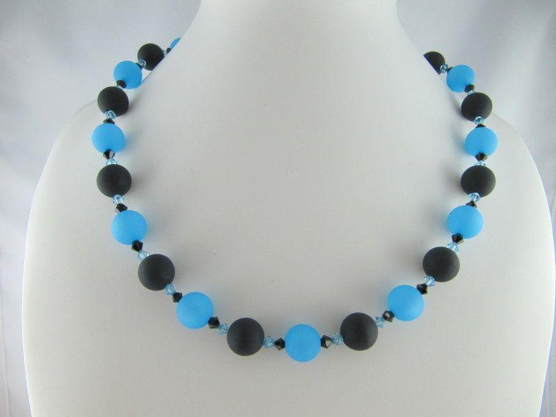 - Kette große Perlen Polaris Schwarz Blau Polariskette (648)   - Kette große Perlen Polaris Schwarz Blau Polariskette (648)