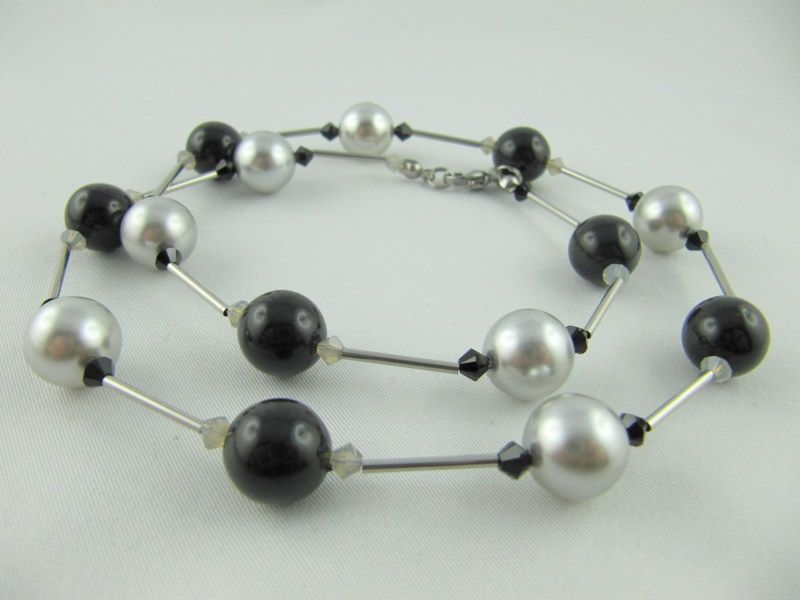 Kleinesbild - Kette große Perlen Schwarz / Grau  (629)