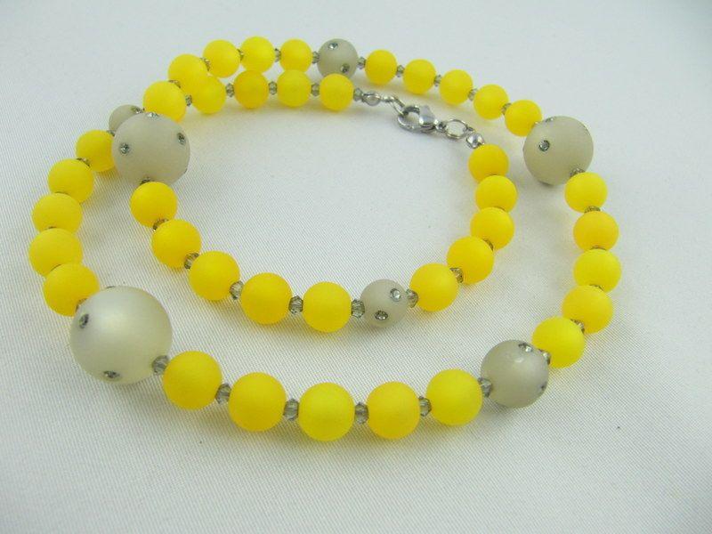 - Kette Perlen Polaris Grau Gelb (659) - Kette Perlen Polaris Grau Gelb (659)