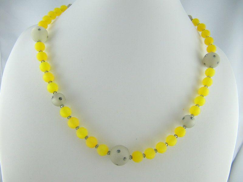 Kleinesbild - Kette Perlen Polaris Grau Gelb (659)