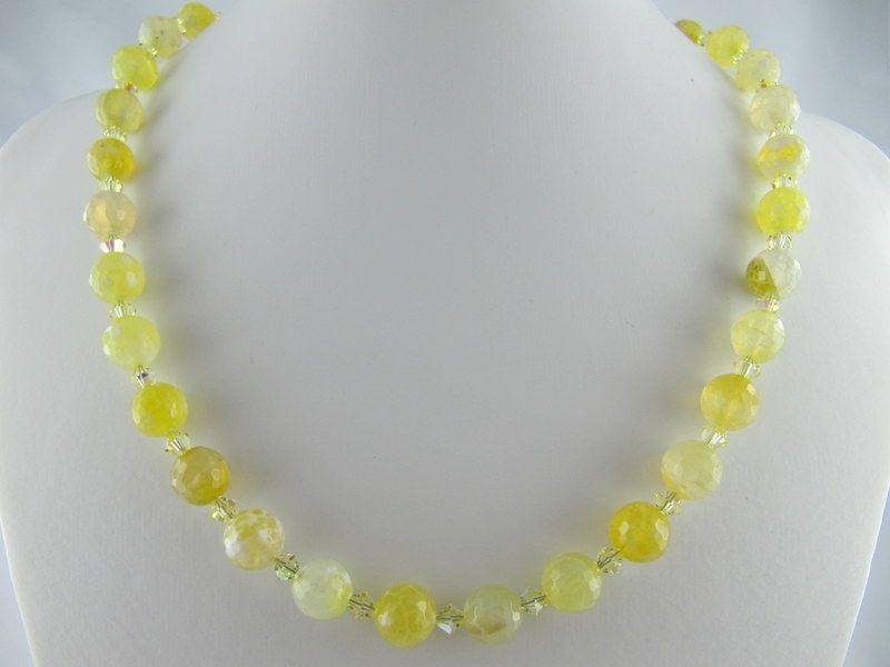 - Kette Achat Perlen Hellgelb Perlenkette (E05) - Kette Achat Perlen Hellgelb Perlenkette (E05)