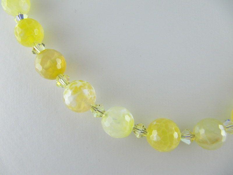 Kleinesbild - Kette Achat Perlen Hellgelb Perlenkette (E05)