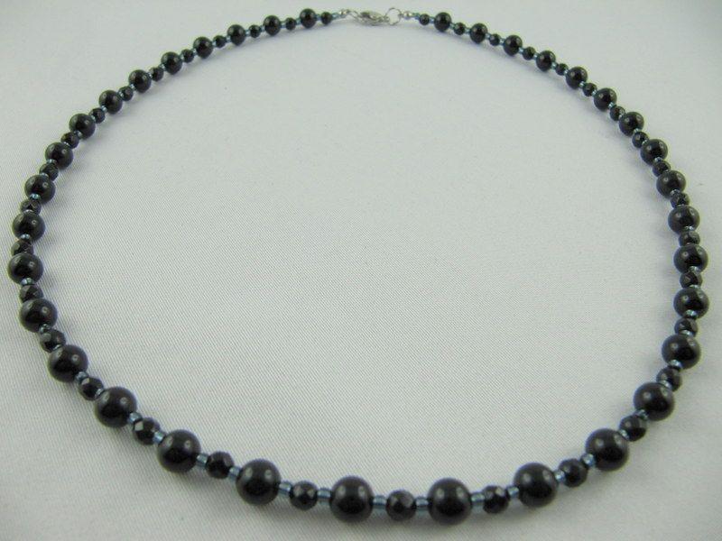 Kleinesbild - Kette Perlen Onyx Schwarz Perlenkette (538)