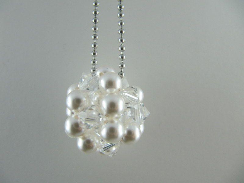 - lange Kette mit großer Kugel Weiß Crystal (471) - lange Kette mit großer Kugel Weiß Crystal (471)