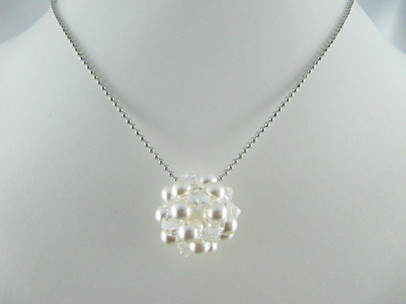 Kleinesbild - lange Kette mit großer Kugel Weiß Crystal (471)