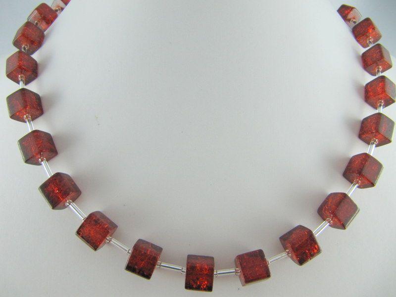 Kleinesbild - Kette Braun Würfel Glas gecracked Würfelkette (541)