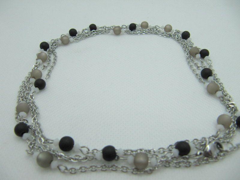 - Lange Gliederkette Perlen Polaris Schwarz Grau  (658)  - Lange Gliederkette Perlen Polaris Schwarz Grau  (658)