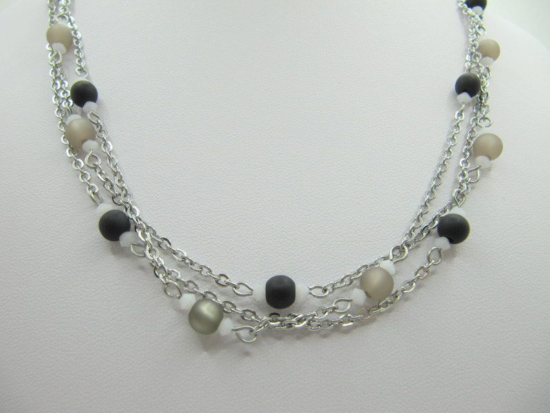 Kleinesbild - Lange Gliederkette Perlen Polaris Schwarz Grau  (658)