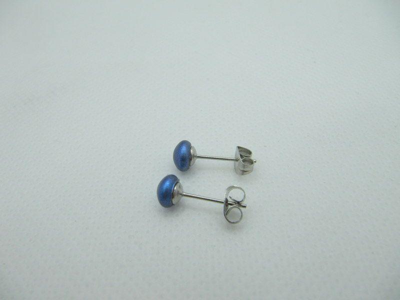 Kleinesbild - Ohrstecker Blau Iridescent Dark Blue