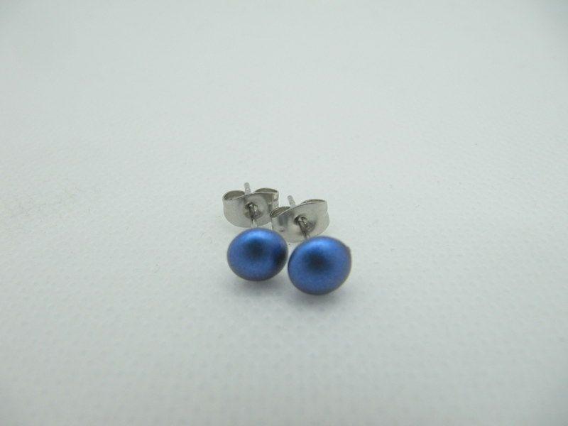 - Ohrstecker Blau Iridescent Dark Blue  - Ohrstecker Blau Iridescent Dark Blue
