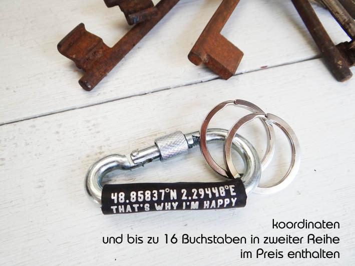 Kleinesbild - Schlüsselanhänger Karabiner mit Koordinaten von Schlüsselundwort