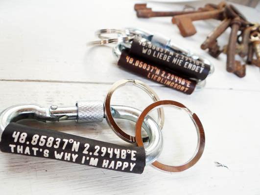 - Schlüsselanhänger Karabiner mit Koordinaten von Schlüsselundwort - Schlüsselanhänger Karabiner mit Koordinaten von Schlüsselundwort