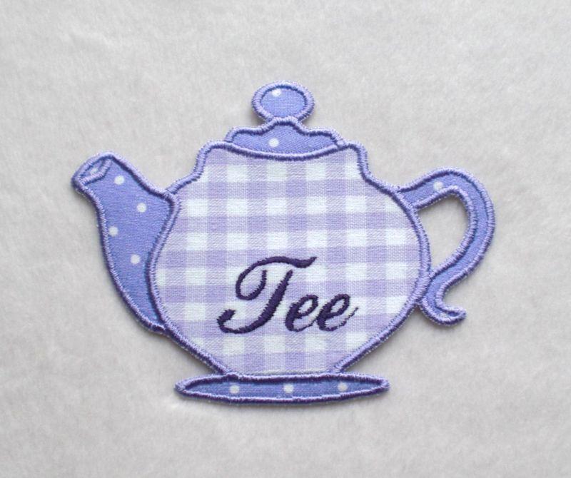- Teekanne, flieder, Stickapplikation  - Teekanne, flieder, Stickapplikation