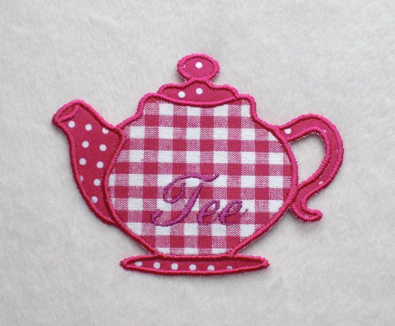 - Teekanne, pink, Stickapplikation   - Teekanne, pink, Stickapplikation