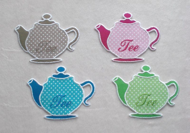 Kleinesbild - Teekanne, pink, Stickapplikation