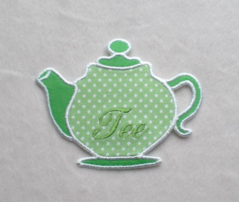 - Teekanne, hellgrün, Pünktchen, Stickapplikation       - Teekanne, hellgrün, Pünktchen, Stickapplikation