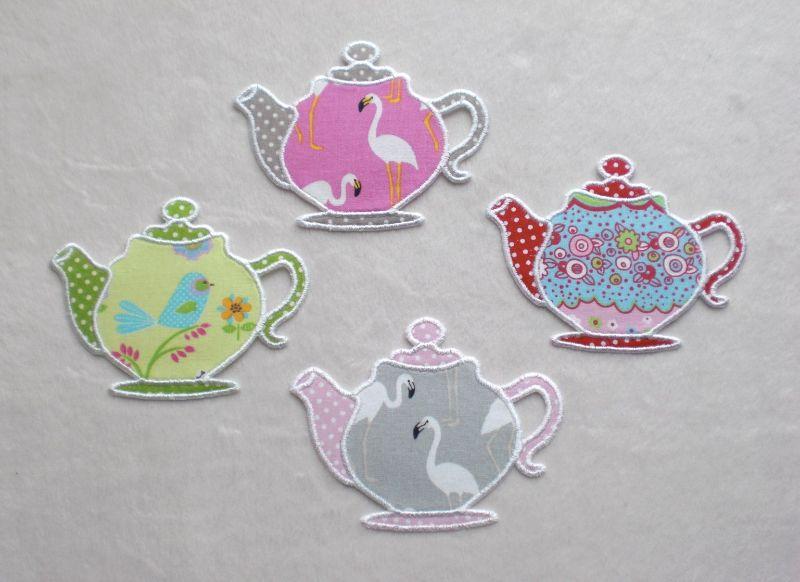 Kleinesbild - Teekanne, rosa-pink, Pünktchen, Stickapplikation