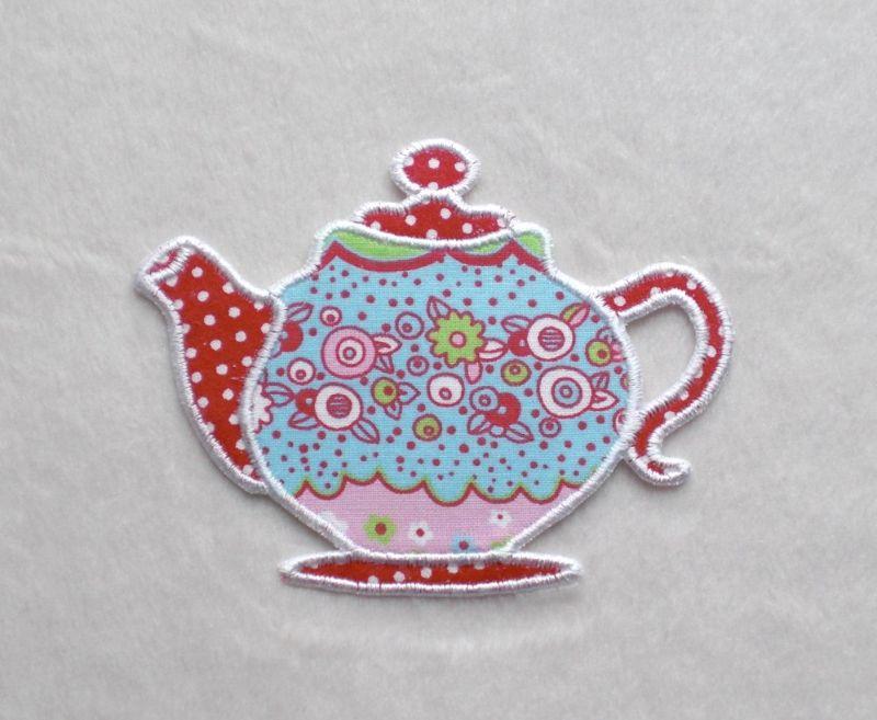 - Teekanne, Blumen bunt, Pünktchen, Stickapplikation            - Teekanne, Blumen bunt, Pünktchen, Stickapplikation