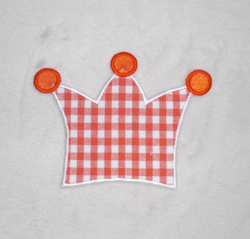 - Krone, orange kariert, Stickapplikation zum Aufbügeln     - Krone, orange kariert, Stickapplikation zum Aufbügeln