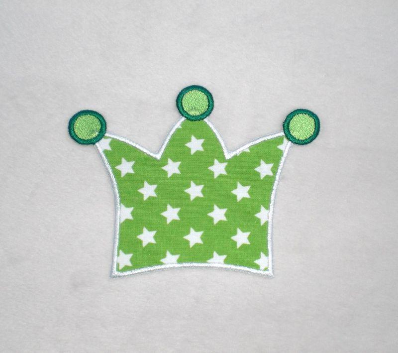 - Krone, hellgrün Sterne, Stickapplikation zum Aufbügeln     - Krone, hellgrün Sterne, Stickapplikation zum Aufbügeln