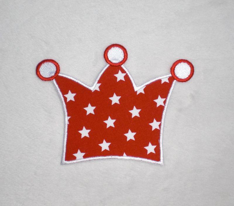- Krone, rot-weiße Sterne, Stickapplikation zum Aufbügeln      - Krone, rot-weiße Sterne, Stickapplikation zum Aufbügeln