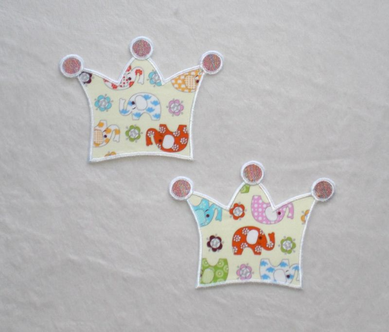 Kleinesbild - Krone, kleiner Elefant, Stickapplikation zum Aufbügeln