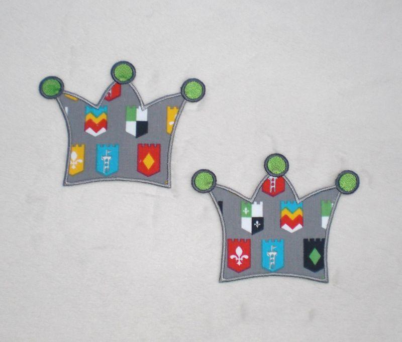 - Krone, Ritterwappen, Stickapplikation zum Aufbügeln        - Krone, Ritterwappen, Stickapplikation zum Aufbügeln