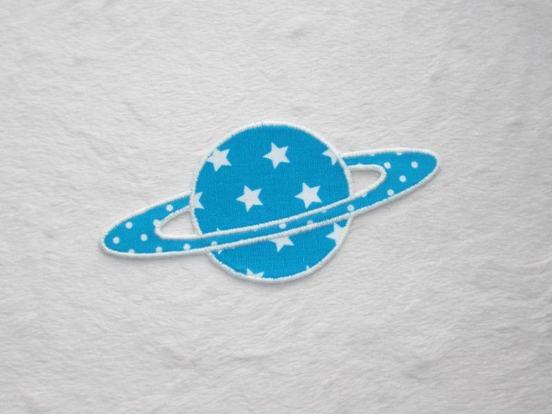 - Planet, Sterne, türkisblau, leuchtet im Dunkeln, Stickapplikation zum Aufbügeln       - Planet, Sterne, türkisblau, leuchtet im Dunkeln, Stickapplikation zum Aufbügeln