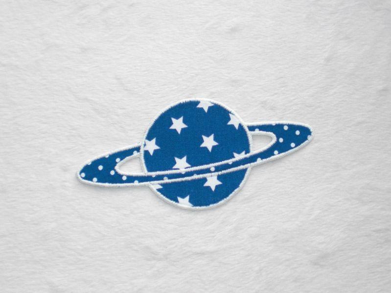 - Planet, Sterne, blau, leuchtet im Dunkeln, Stickapplikation zum Aufbügeln        - Planet, Sterne, blau, leuchtet im Dunkeln, Stickapplikation zum Aufbügeln