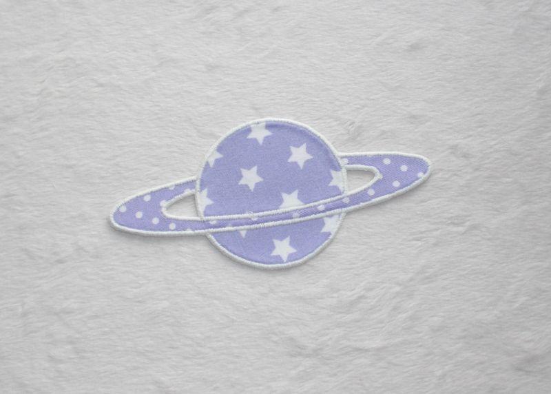 - Planet, Sterne, flieder, leuchtet im Dunkeln, Stickapplikation zum Aufbügeln        - Planet, Sterne, flieder, leuchtet im Dunkeln, Stickapplikation zum Aufbügeln