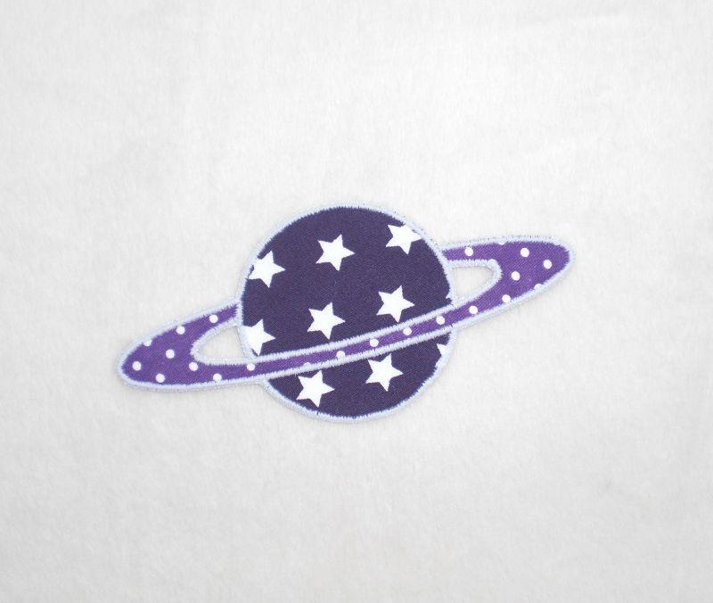 - Planet, Sterne, lila, leuchtet im Dunkeln, Stickapplikation zum Aufbügeln         - Planet, Sterne, lila, leuchtet im Dunkeln, Stickapplikation zum Aufbügeln