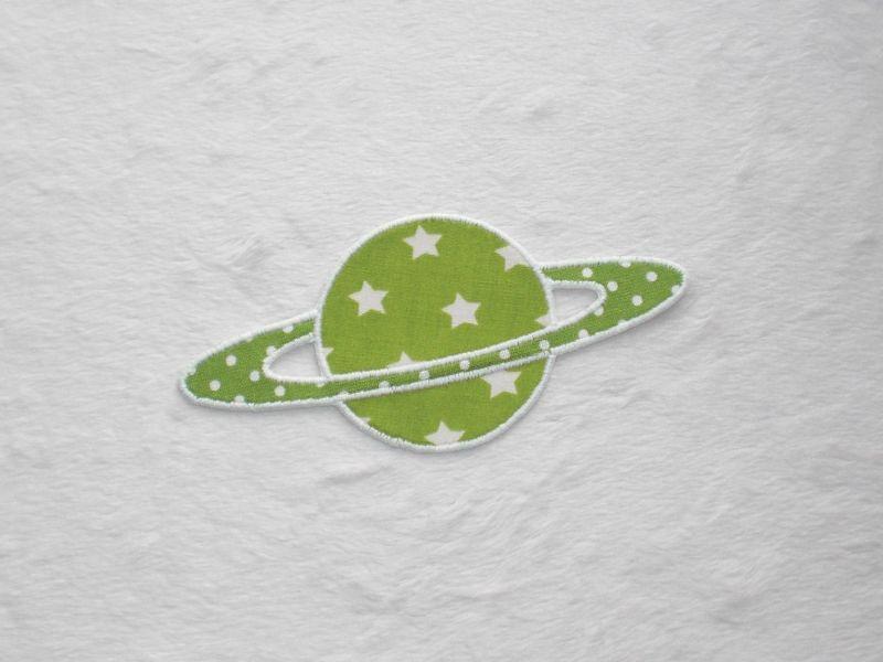 - Planet, Sterne, hellgrün, leuchtet im Dunkeln, Stickapplikation zum Aufbügeln           - Planet, Sterne, hellgrün, leuchtet im Dunkeln, Stickapplikation zum Aufbügeln