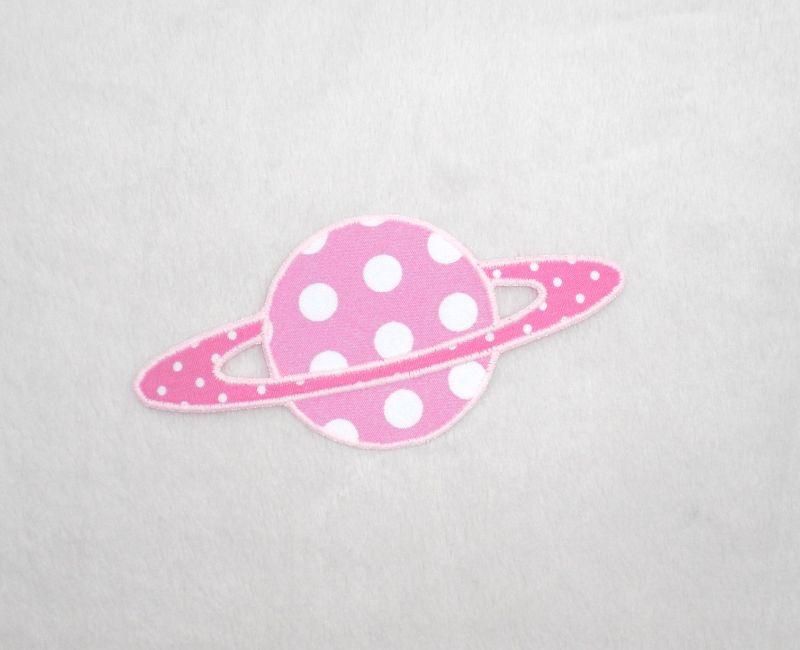 - Planet, Punkte, rosa, leuchtet im Dunkeln, Stickapplikation zum Aufbügeln          - Planet, Punkte, rosa, leuchtet im Dunkeln, Stickapplikation zum Aufbügeln