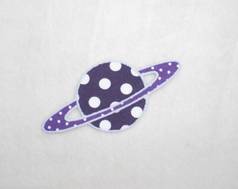 - Planet, Punkte, lila, leuchtet im Dunkeln, Stickapplikation zum Aufbügeln           - Planet, Punkte, lila, leuchtet im Dunkeln, Stickapplikation zum Aufbügeln