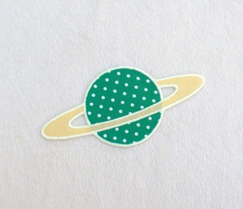 - Planet, Pünktchen, grün, leuchtet im Dunkeln, Stickapplikation zum Aufbügeln              - Planet, Pünktchen, grün, leuchtet im Dunkeln, Stickapplikation zum Aufbügeln