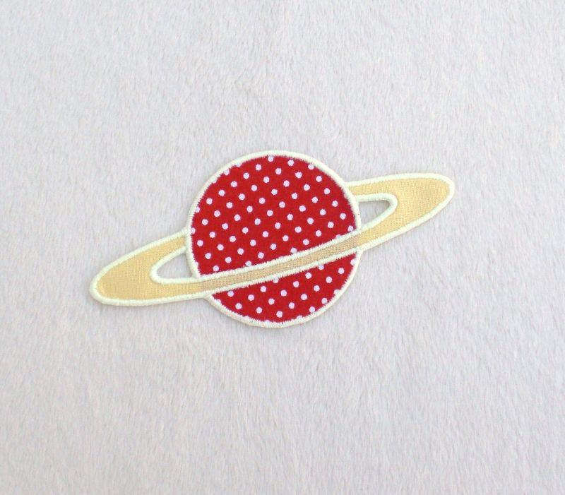 - Planet, Pünktchen, rot, leuchtet im Dunkeln, Stickapplikation zum Aufbügeln               - Planet, Pünktchen, rot, leuchtet im Dunkeln, Stickapplikation zum Aufbügeln
