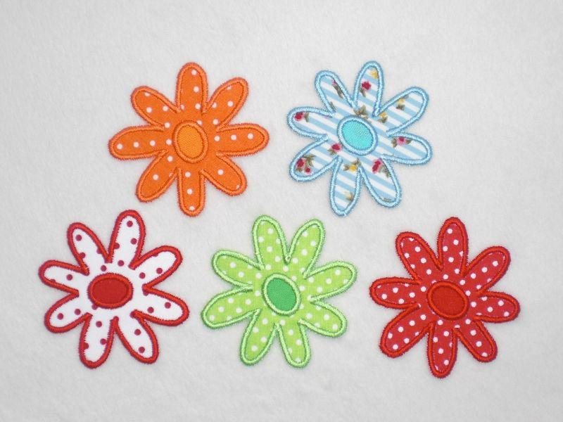 Kleinesbild - Blumen, 3er Set, hellgrün, Pünktchen, Stickapplikation zum Aufbügeln