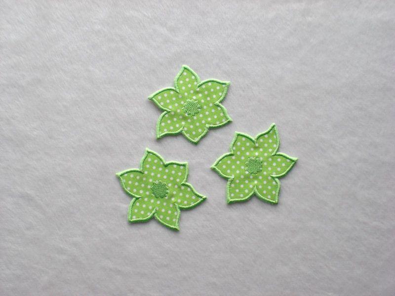 - Blumen Nr.4, 3er Set, hellgrün, Pünktchen, Stickapplikation zum Aufbügeln  - Blumen Nr.4, 3er Set, hellgrün, Pünktchen, Stickapplikation zum Aufbügeln