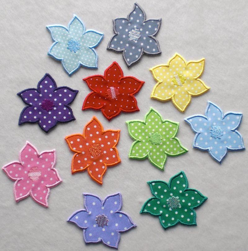 Kleinesbild - Blumen Nr.4, 3er Set, petrol, Pünktchen, Stickapplikation zum Aufbügeln