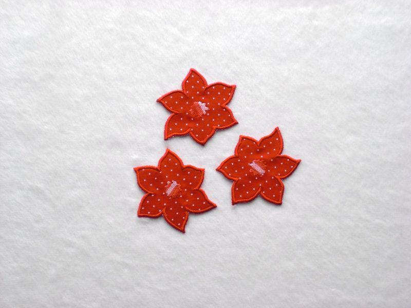 - Blumen Nr.4, 3er Set, rot, Pünktchen, Stickapplikation zum Aufbügeln   - Blumen Nr.4, 3er Set, rot, Pünktchen, Stickapplikation zum Aufbügeln