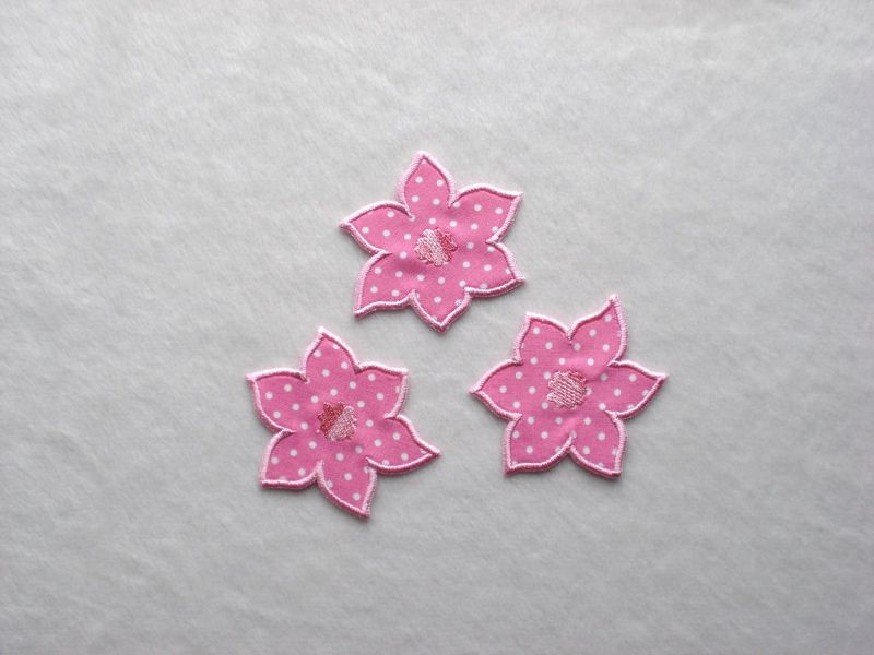- Blumen Nr.4, 3er Set, rosa, Pünktchen, Stickapplikation zum Aufbügeln   - Blumen Nr.4, 3er Set, rosa, Pünktchen, Stickapplikation zum Aufbügeln