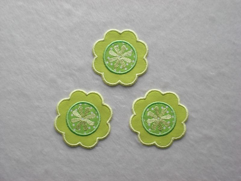 - Blumen Nr.1, 3er Set, gelb-grün, Stickapplikation zum Aufbügeln   - Blumen Nr.1, 3er Set, gelb-grün, Stickapplikation zum Aufbügeln