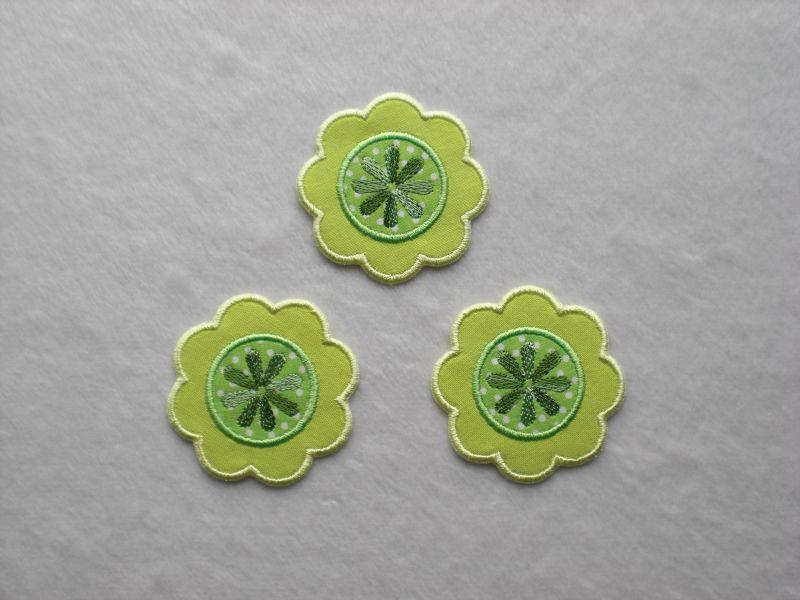 - Blumen Nr.1, 3er Set, grün-gelb, Stickapplikation zum Aufbügeln   - Blumen Nr.1, 3er Set, grün-gelb, Stickapplikation zum Aufbügeln