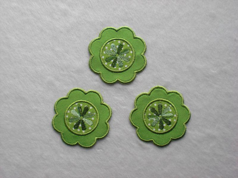 - Blumen Nr.1, 3er Set, grasgrün, Stickapplikation zum Aufbügeln    - Blumen Nr.1, 3er Set, grasgrün, Stickapplikation zum Aufbügeln
