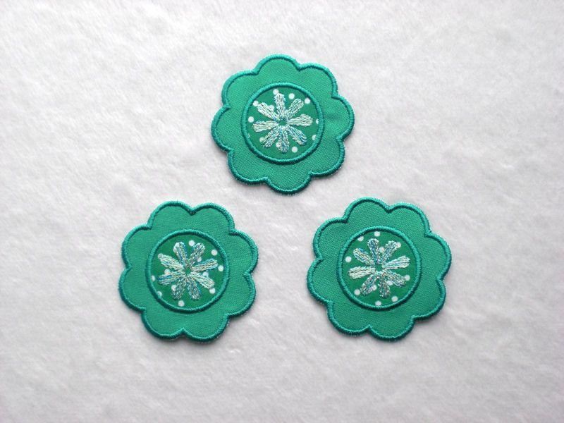 - Blumen Nr.1, 3er Set, petrol, Stickapplikation zum Aufbügeln      - Blumen Nr.1, 3er Set, petrol, Stickapplikation zum Aufbügeln