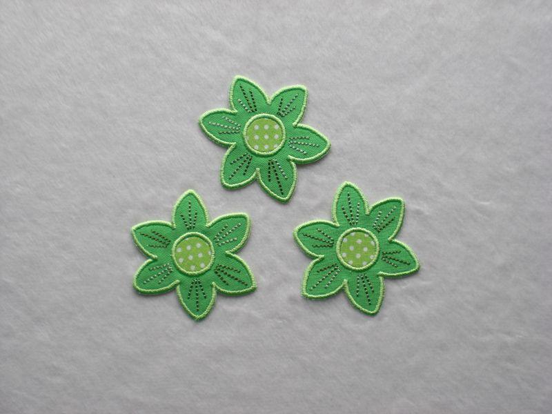 - Blumen Nr.2, 3er Set, leuchtendgrün, Stickapplikation zum Aufbügeln       - Blumen Nr.2, 3er Set, leuchtendgrün, Stickapplikation zum Aufbügeln