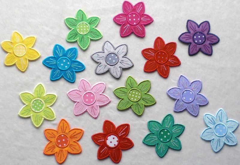 Kleinesbild - Blumen Nr.2, 3er Set, leuchtendgrün, Stickapplikation zum Aufbügeln